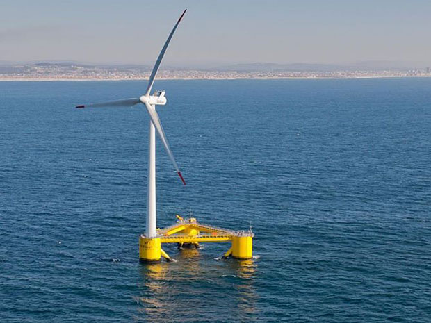 Float wind turbine over the sea