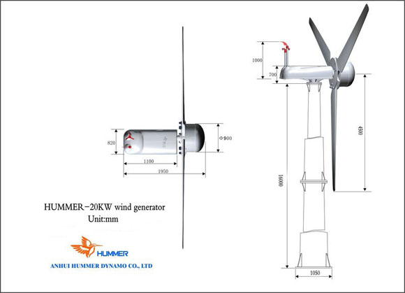 Hummer 20KW Wind Turbine For Household Structure