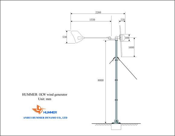 H3.1-1KW Off Grid 48V Wind Turbine Structure