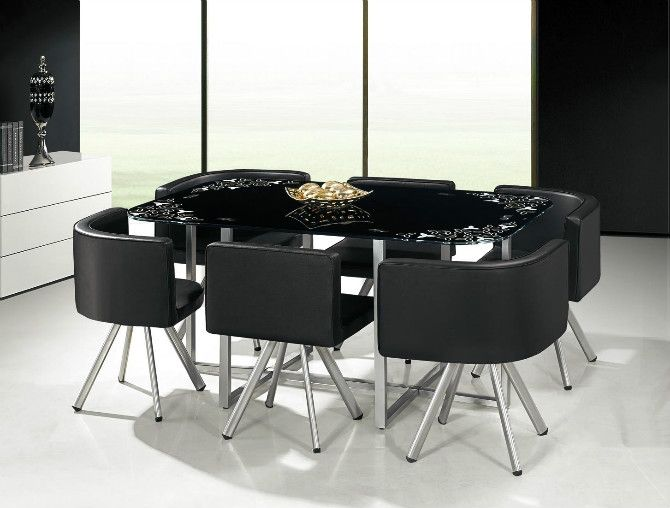 Hot sale low price glass dining table set for Six chair dining table set