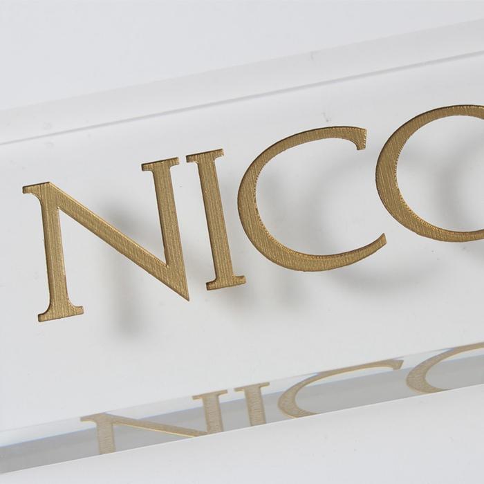 clear acrylic engraved logo block