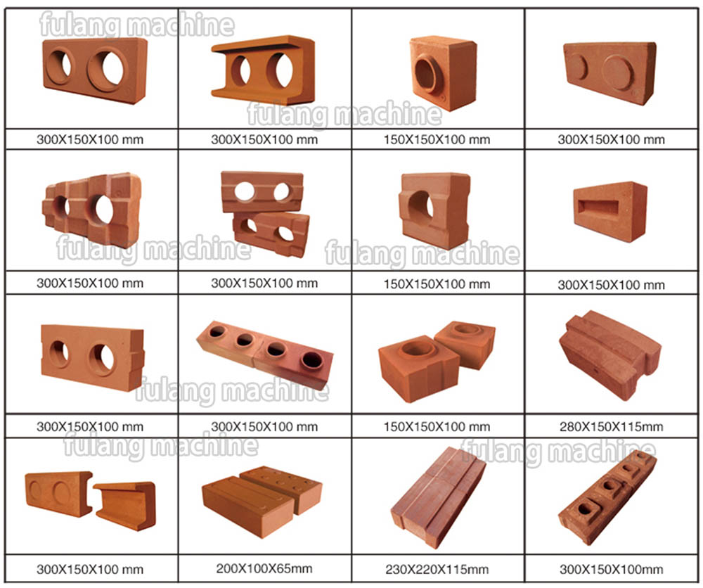 different brick samples