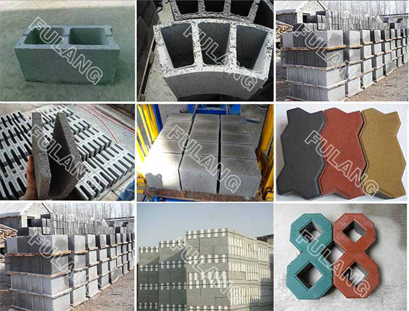 different concrete blocks samples