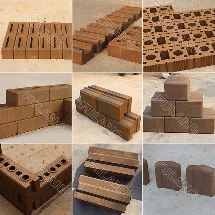 different clay brick samples